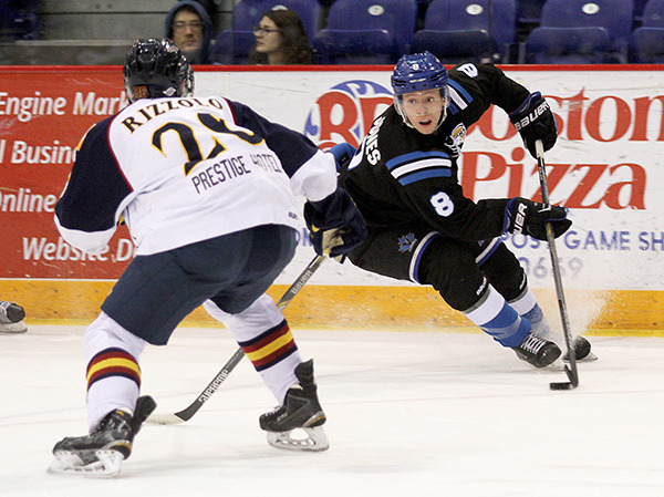 NICHOLAS JONES (8) of the Penticton Vees was a threat to the Vernon Vipers on the penalty kill. Jones scored two shorthanded goals to help the Vees cruise past the home team 6-2 at Kal Tire Place.
