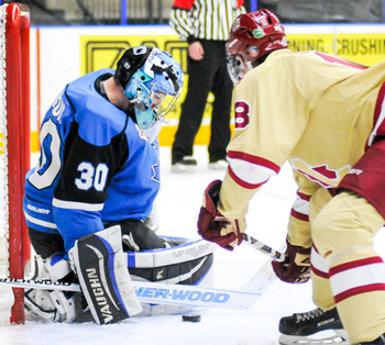 PENTICTON VEES GOALIE Anthony Brodeur blocks a stick-side shot from Chilliwack Chiefs' Aaron O'Neill. Brodeur finished with 23 saves in an 8-1 win in the BCHL tilt at the South Okanagan Events Centre.