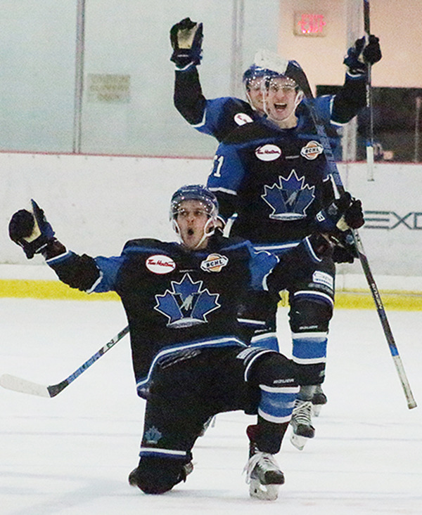 PENTICTON VEES FORWARD Chris Klack celebrates his overtime goal against the Cowichan Valley Capitals on Sunday. The Vees won the game 4-3 on Sunday afternoon. They completed their road trip by winning two of three.