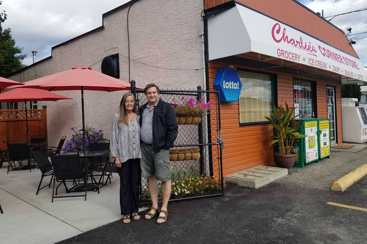 Louise and Tom Maxwell at their patio on 38th adjacent to their home and business, Charlie's Corner Store, are celebrating 60 years of the store's existence in Vernon. (Roger Knox - Morning Star)