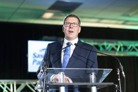 Premier Scott Moe speaks during the 2019 Saskatchewan Party Convention in Regina on Saturday, October 5, 2019. Saskatchewan Premier Scott Moe says he's a frustrated federalist and that there's a fire burning in Western Canada. (THE CANADIAN PRESS/Michael Bell)