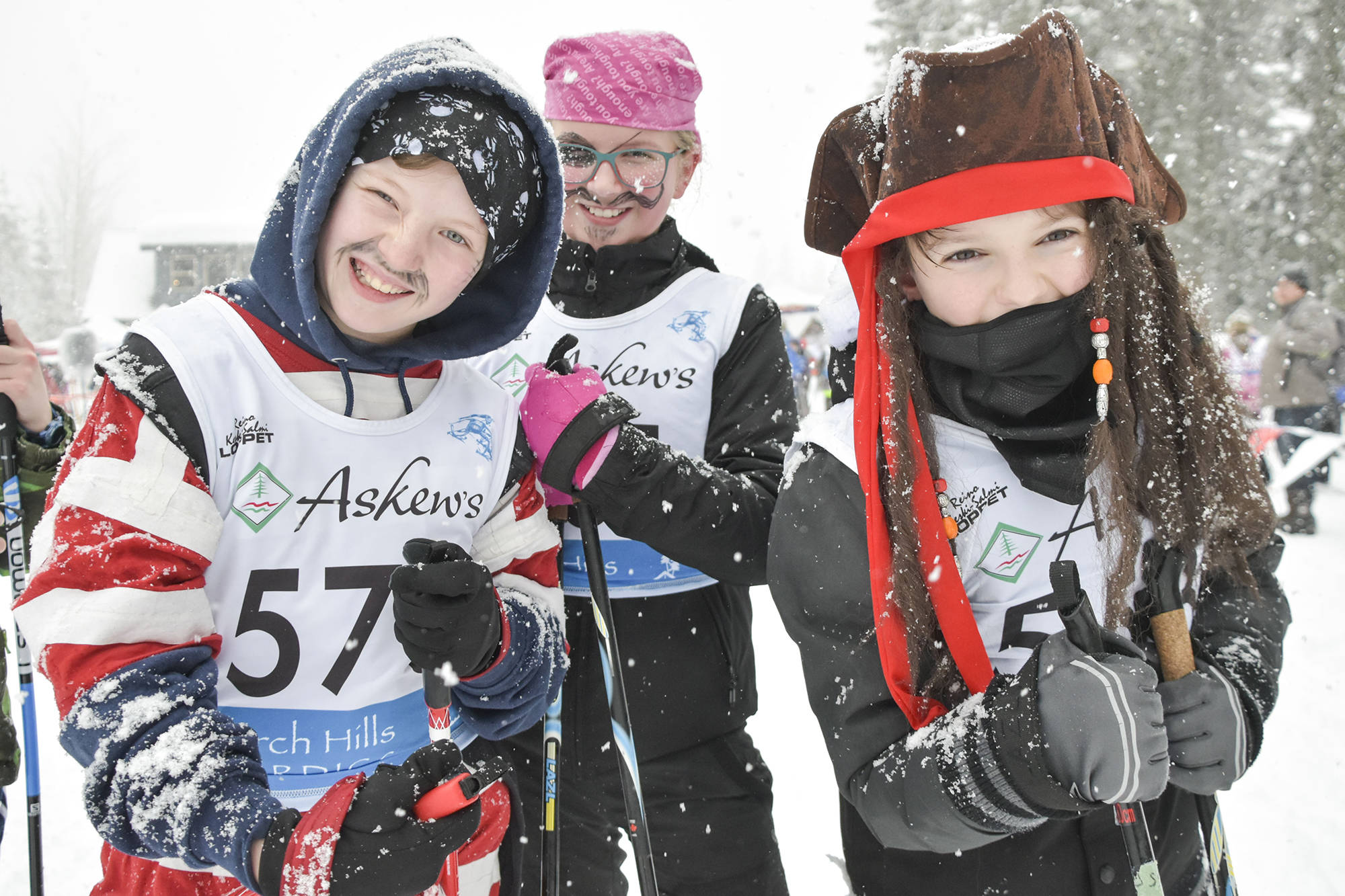 "Dexter Derksen, Bella Haak and Hayden Sherwood from MV Beattie give their best pirate ""Arrr!"" before heading out on the trails for the 2020 Pirate Loppet on Larch Hills Friday, Jan. 31, 2020. (Cameron Thomson - Salmon Arm Observer)"