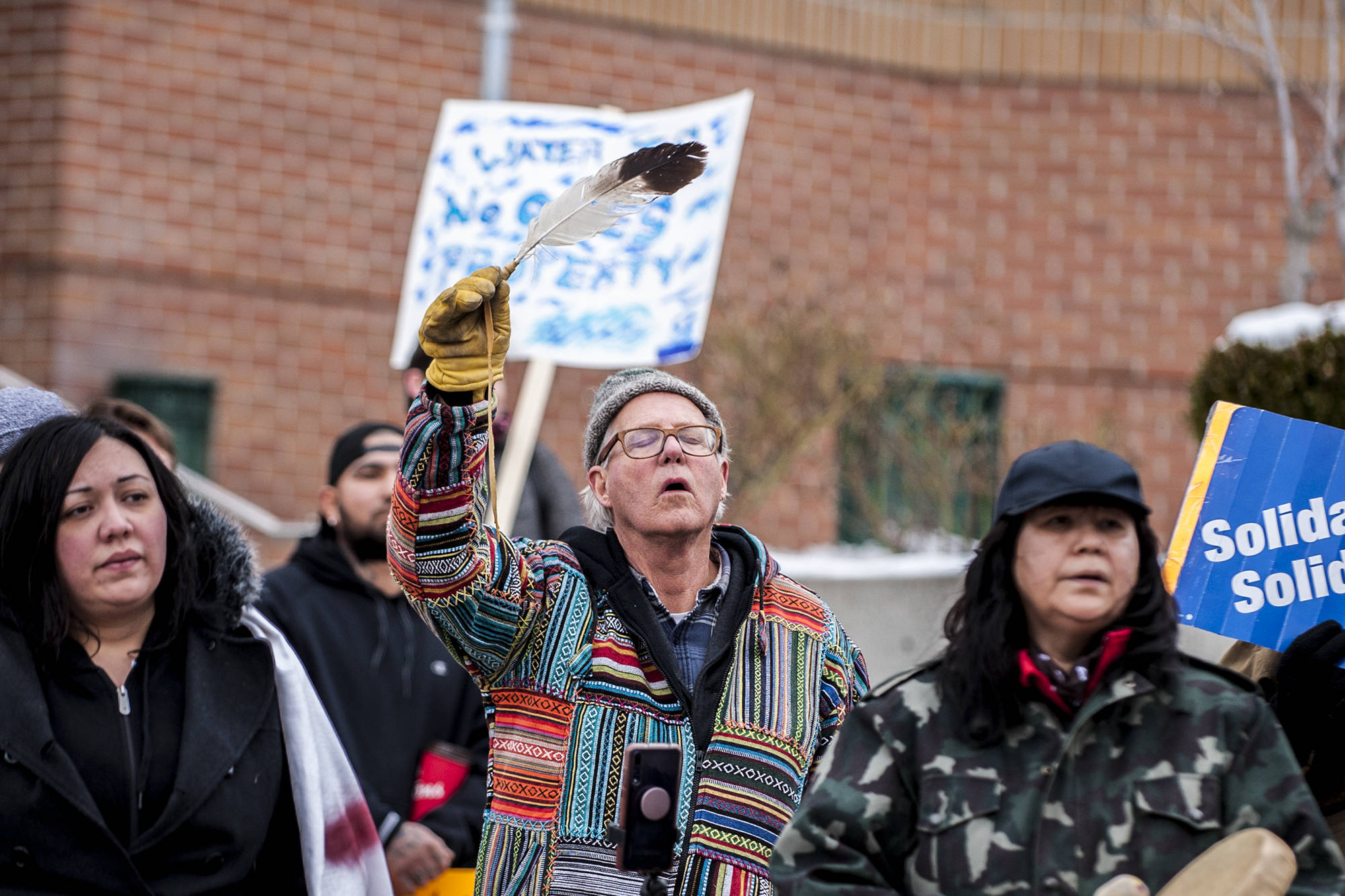 Hundreds gather outside the Kelowna Law Courts on Feb. 9 in solidarity with Wet'suwet'en First Nation in its fight against the Coastal Gaslink Pipeline. (Michael Rodriguez - Capital News)