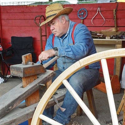 O'Keefe Ranch is hosting Canada Day events July 1, including having Armstrong's Dwayne Danley on hand to show how wooden wheels were manufactured by hand. (O'Keefe Ranch photo)