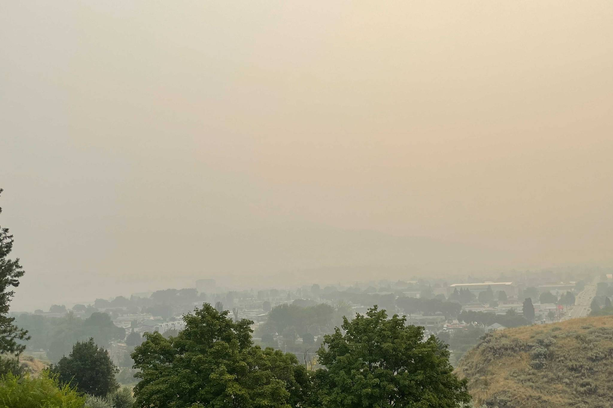 The City of Penticton as seen from West Bench on Saturday morning, July 31. (Brennan Phillips - Western News)